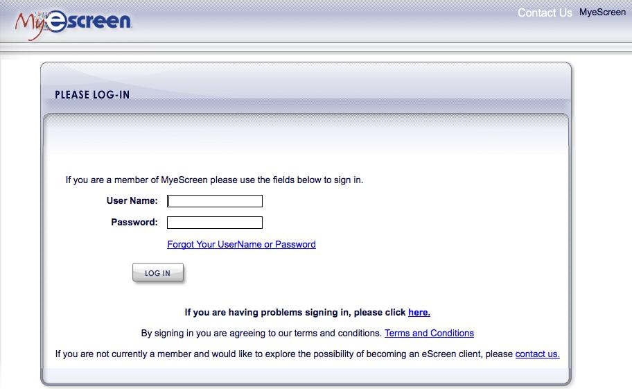 escreen login