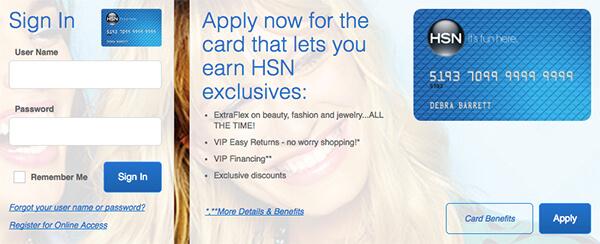 hsn credit card login